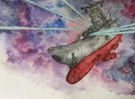 This ship is from the anime 'Space Battleship Yamato'.