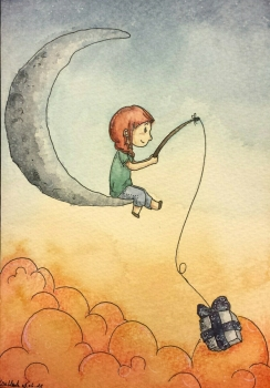 The girl sitting on the moon and fishing for a present, which looks a bit like a piece of the moon and has little stars on the bow.