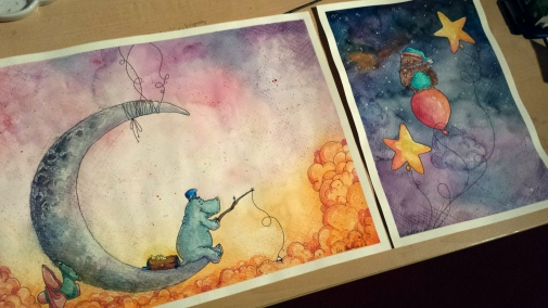 While the owl is sleeping up in the sky with it's teddy in the arm, the hippo is fishing, searching for little glowing stars. These two pictures belong together, the balloons are attached to the moon.
